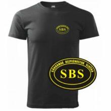 Tričko SBS – SECURITY so žltou potlačou – čierne