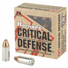9mm Luger Hornady Critical Defense FTX 115gr, 25ks