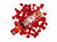 Vystreľovacie konfety 30cm – biele srdiečka + červené lupienky