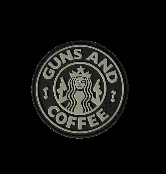 Patch Guns and coffee 3D – čierna