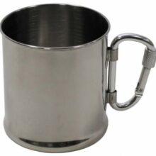 Hrnček nerezový MFH 33382 s karabínkou – 220 ml