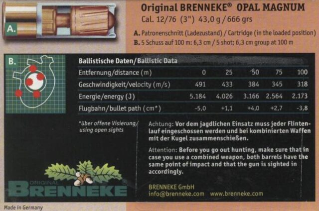 Brenneke Opal Magnum 12/76 43,0g, 5ks