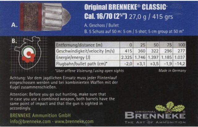 Brenneke Classic 16/70 27,0g, 5ks