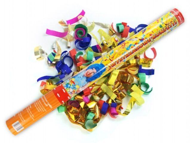Vystreľovacie konfety 40cm – farebné metalické konfety