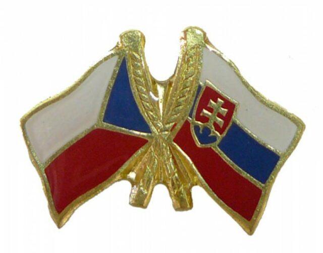 """Odznak dvojvlajkový – """"Slovensko-Česko"""""""