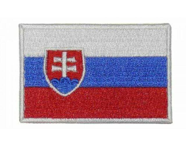 """Nášivka """"SVK"""" vlajka – biely rámček"""