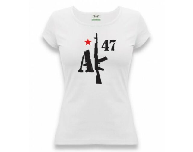 """Tričko dámske APK """"AK-47"""" – biele"""