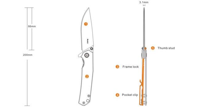 Nôž Ruike P801-SF – strieborný