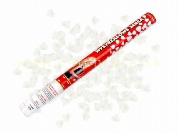 Vystreľovacie konfety 60cm – biele srdiečka