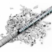 Vystreľovacie konfety 60cm – strieborné metalické konfety