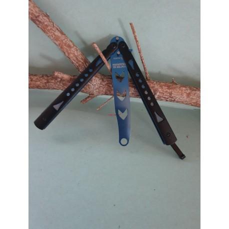 Nôž motýlik tréningový čierno – modrý